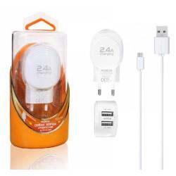 Cargador de Red + Cable Micro USB 2,4A Carga Rápida Marca Moxom