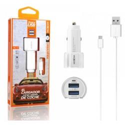 Cargador de Coche + Cable Micro USB 2,3A Carga Rápida Marca Moxom