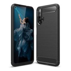 Funda Gel Tpu Tipo Carbon Negra para Huawei Nova 5T / Honor 20
