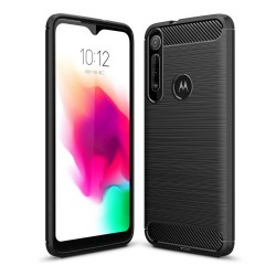 Funda Gel Tpu Tipo Carbon Negra para Huawei Motorola One Macro