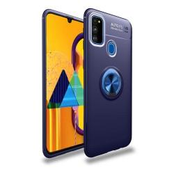 Funda Magnetica Soporte con Anillo Giratorio 360 para Samsung Galaxy M30s Azul