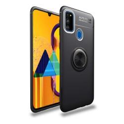 Funda Magnetica Soporte con Anillo Giratorio 360 para Samsung Galaxy M30s Negra