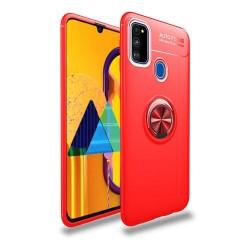 Funda Magnetica Soporte con Anillo Giratorio 360 para Samsung Galaxy M30s Roja