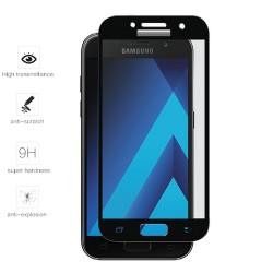 Protector Cristal Templado Frontal Completo Negro para Samsung Galaxy A3 (2017) Vidrio