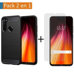 Pack 2 En 1 Funda Gel Tipo Carbono + Protector Cristal Templado para Xiaomi Redmi Note 8T