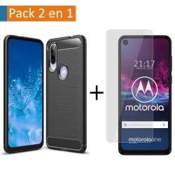 Pack 2 En 1 Funda Gel Tipo Carbono + Protector Cristal Templado para Motorola One Action