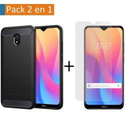 Pack 2 En 1 Funda Gel Tipo Carbono + Protector Cristal Templado para Xiaomi Redmi 8A