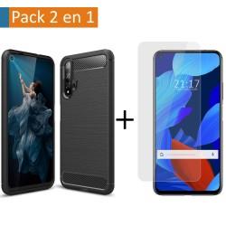 Pack 2 En 1 Funda Gel Tipo Carbono + Protector Cristal Templado para Huawei Nova 5T / Honor 20