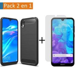 Pack 2 En 1 Funda Gel Tipo Carbono + Protector Cristal Templado para Huawei Y5 2019