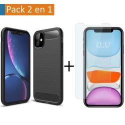 Pack 2 En 1 Funda Gel Tipo Carbono + Protector Cristal Templado para Iphone 11 (6.1)