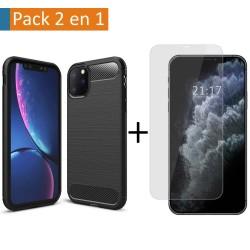Pack 2 En 1 Funda Gel Tipo Carbono + Protector Cristal Templado para Iphone 11 Pro (5.8)