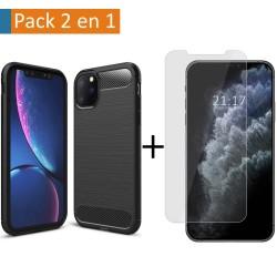 Pack 2 En 1 Funda Gel Tipo Carbono + Protector Cristal Templado para Iphone 11 Pro Max (6.5)