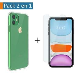 Pack 2 En 1 Funda Gel Transparente + Protector Cristal Templado para Iphone 11 (6.1)