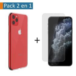 Pack 2 En 1 Funda Gel Transparente + Protector Cristal Templado para Iphone 11 Pro (5.8)