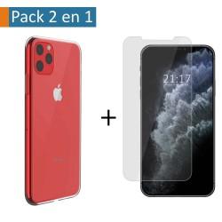 Pack 2 En 1 Funda Gel Transparente + Protector Cristal Templado para Iphone 11 Pro Max (6.5)