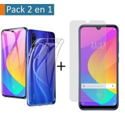 Pack 2 En 1 Funda Gel Transparente + Protector Cristal Templado para Xiaomi Mi 9 Lite