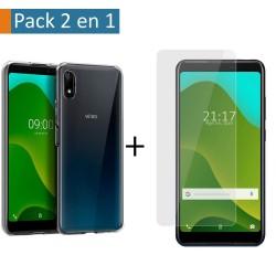 Pack 2 En 1 Funda Gel Transparente + Protector Cristal Templado para Wiko Y70