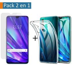 Pack 2 En 1 Funda Gel Transparente + Protector Cristal Templado para Realme 5 Pro