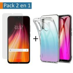 Pack 2 En 1 Funda Gel Transparente + Protector Cristal Templado para Xiaomi Redmi Note 8