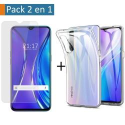 Pack 2 En 1 Funda Gel Transparente + Protector Cristal Templado para Realme X2