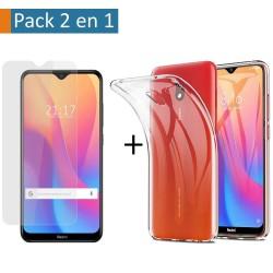 Pack 2 En 1 Funda Gel Transparente + Protector Cristal Templado para Xiaomi Redmi 8A
