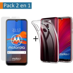 Pack 2 En 1 Funda Gel Transparente + Protector Cristal Templado para Motorola Moto E6 Plus