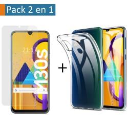 Pack 2 En 1 Funda Gel Transparente + Protector Cristal Templado para Samsung Galaxy M30s