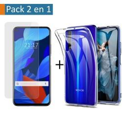 Pack 2 En 1 Funda Gel Transparente + Protector Cristal Templado para Huawei Nova 5T / Honor 20