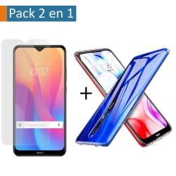 Pack 2 En 1 Funda Gel Transparente + Protector Cristal Templado para Xiaomi Redmi 8