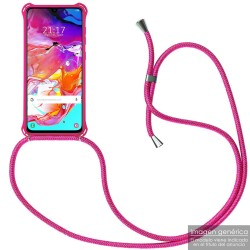 Funda Colgante con Cordon para Samsung Galaxy A40 color Rosa