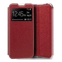Funda Libro Soporte con Ventana para Xiaomi Mi A3 Color Roja