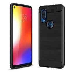 Funda Gel Tpu Tipo Carbon Negra para Motorola One Vision