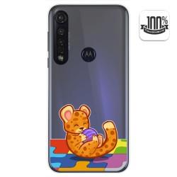Funda Gel Transparente para Motorola Moto G8 Plus diseño Leopardo Dibujos