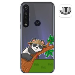 Funda Gel Transparente para Motorola Moto G8 Plus diseño Panda Dibujos