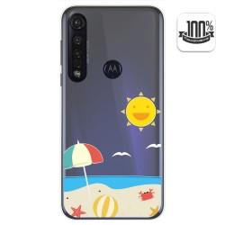 Funda Gel Transparente para Motorola Moto G8 Plus diseño Playa Dibujos