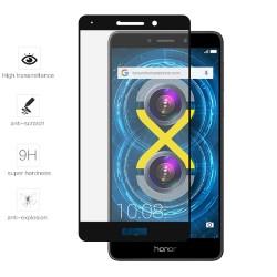 Protector Cristal Templado Frontal Completo Negro para Huawei Honor 6X Vidrio
