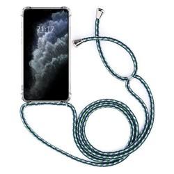 Funda Colgante Transparente para Iphone 11 Pro (5.8) con Cordon Verde-Blanco
