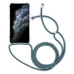 Funda Colgante Transparente para Iphone 11 Pro Max (6.5) con Cordon Verde-Blanco