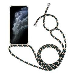 Funda Colgante Transparente para Iphone 11 Pro Max (6.5) con Cordon Verde-Dorado