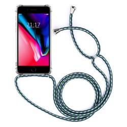 Funda Colgante Transparente para Iphone 7 / 8 con Cordon Verde-Blanco