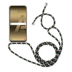 Funda Colgante Transparente para Samsung Galaxy A20e 5.8 con Cordon Verde-Dorado