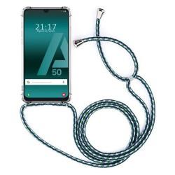 Funda Colgante Transparente para Samsung Galaxy A50  / A50s / A30s con Cordon Verde-Blanco