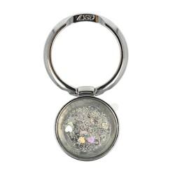 Anillo Ring Soporte Adhesivo para Móvil con Brillantina Glitter color Plata