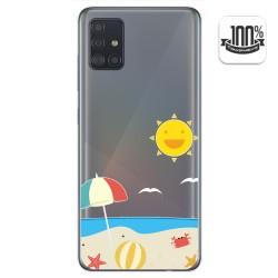 Funda Gel Transparente para Samsung Galaxy A51 diseño Playa Dibujos