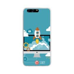 Funda Gel Tpu para Huawei P10 Diseño Cohete Dibujos