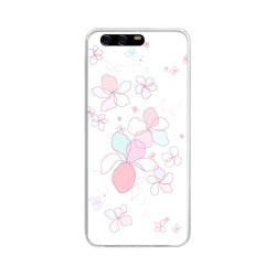 Funda Gel Tpu para Huawei P10 Diseño Flores Minimal Dibujos