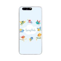 Funda Gel Tpu para Huawei P10 Diseño Spring Birds Dibujos