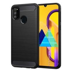 Funda Gel Tpu Tipo Carbon Negra para Samsung Galaxy M30s