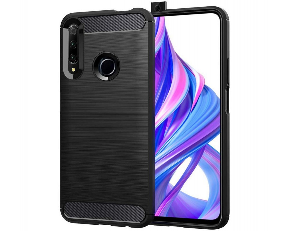 Funda Gel Tpu Tipo Carbon Negra para Huawei Honor 9X