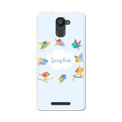 Funda Gel Tpu para Bq Aquaris U Plus Diseño Spring Birds Dibujos